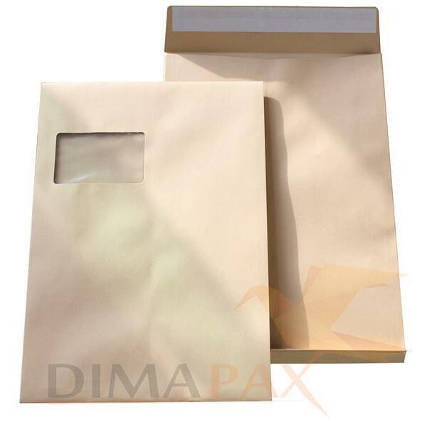 100 Faltentaschen DIN C4 229 x 324 x 20 mm - mit Fenster BRAUN